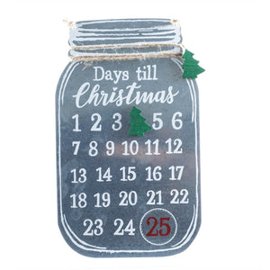 Galvanized Metal Mason Jar Days Til Christmas Calendar Countdown