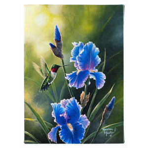 "LED Lights Canvas 9"" x 6"" - Blue Flowers Hummingbird"