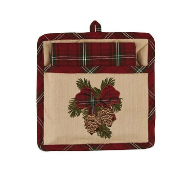 Highland Holiday Christmas Plaid and Pineone Dishtowel and Pot Holder Set