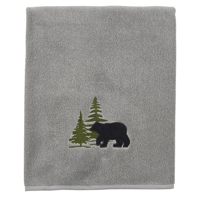 Embroidered Black Bear Gray Terry Bath, Hand or Fingertip Towel