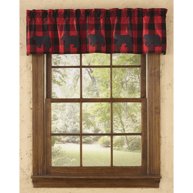 Buffalo Check Black Bear Applique Lined Valance