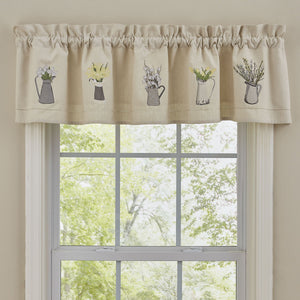 Pitcher with Flowers Embroidered Lined Valance