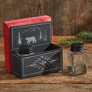 Black Bear Metal Napkin Salt & Pepper Holder Set