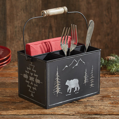 Black Bear Utensil & Napkin Holder