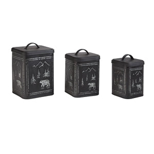 Black Bear Etched Metal Set of 3 Canisters
