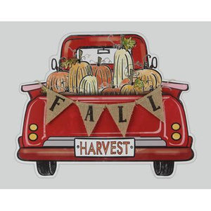 Wooden Red Truck Fall Harvest Wall Sign