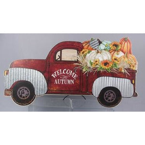 Wooden Red Truck Welcome Tabletop Fall Wall Sign
