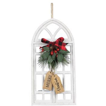 Merry Christmas Wooden Window Wall Art with Artificial Pine