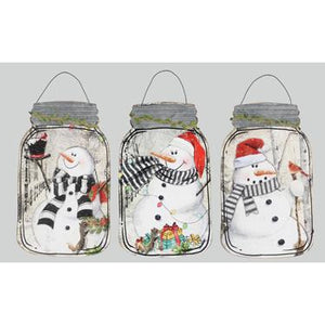 Wood / Metal Snowman Mason Jar Wall Decor - Set of 3