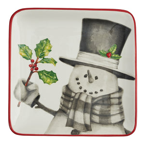Sketchbook Snowman  Ceramic Dessert Plate Single or Set/4