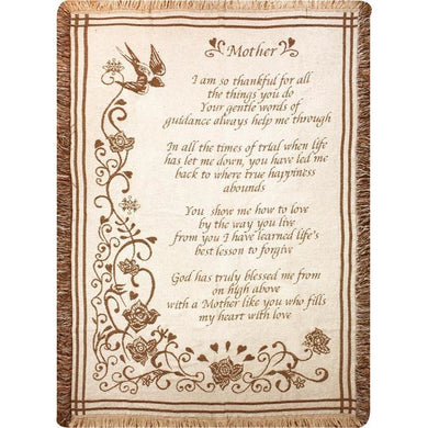 Mother So Thankful Poem Throw Blanket