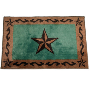 "Star Print Rug, 24""X36"" Turquoise"