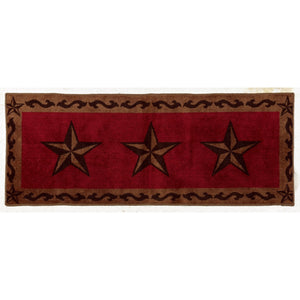 "Star Print Rug, 24""X60"" Red"
