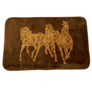 "3 Horse Bathroom/Kitchen Rug, 24""X36"", Chocolate"