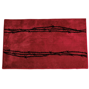 "Barbwire Print Rug, 24""X36"" Red"