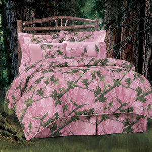 Oak Camo Comforter Set, Twin Pink