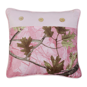 "Oak Camo Pillow, 17""X17"" Pink"