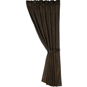 "Chocolate Faux Leather Curtain, 48""X84"""