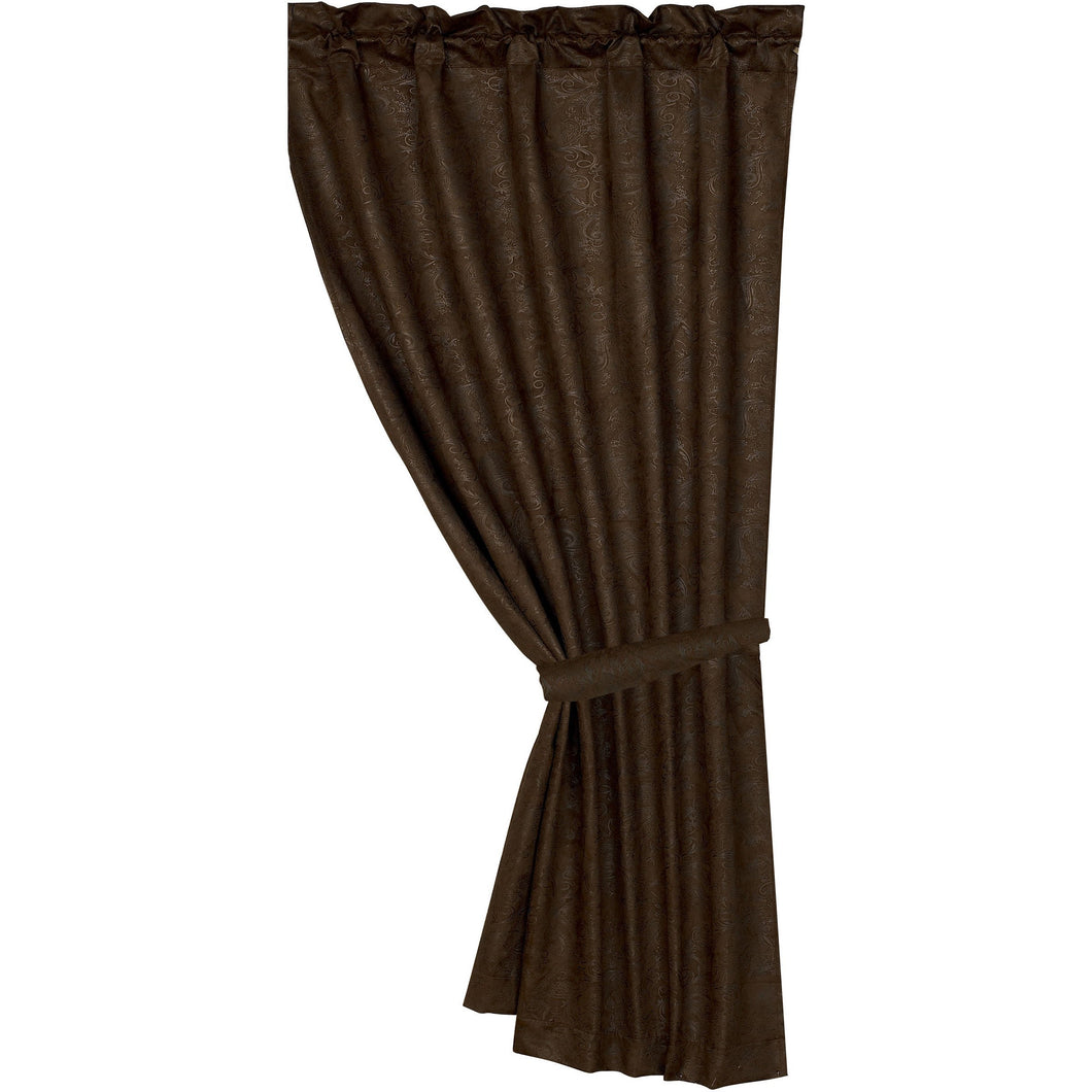 Chocolate Tooled Leather Curtain, 48