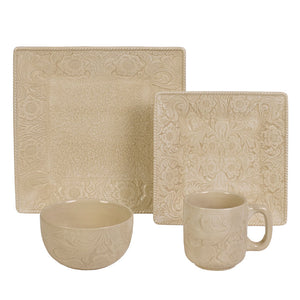 16 PC Savannah Dinnerware Set, Cream