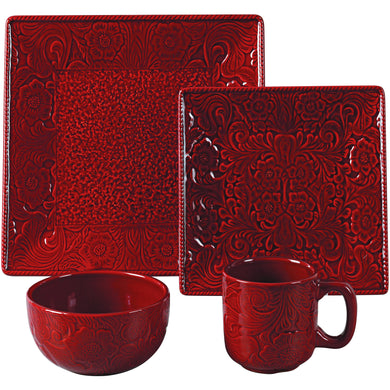 16 PC Savannah Dinnerware Set, Red