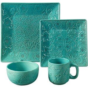 16 PC Savannah Dinnerware Set, Turquoise