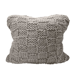 Chess Knit Euro Sham, 27x27 Taupe