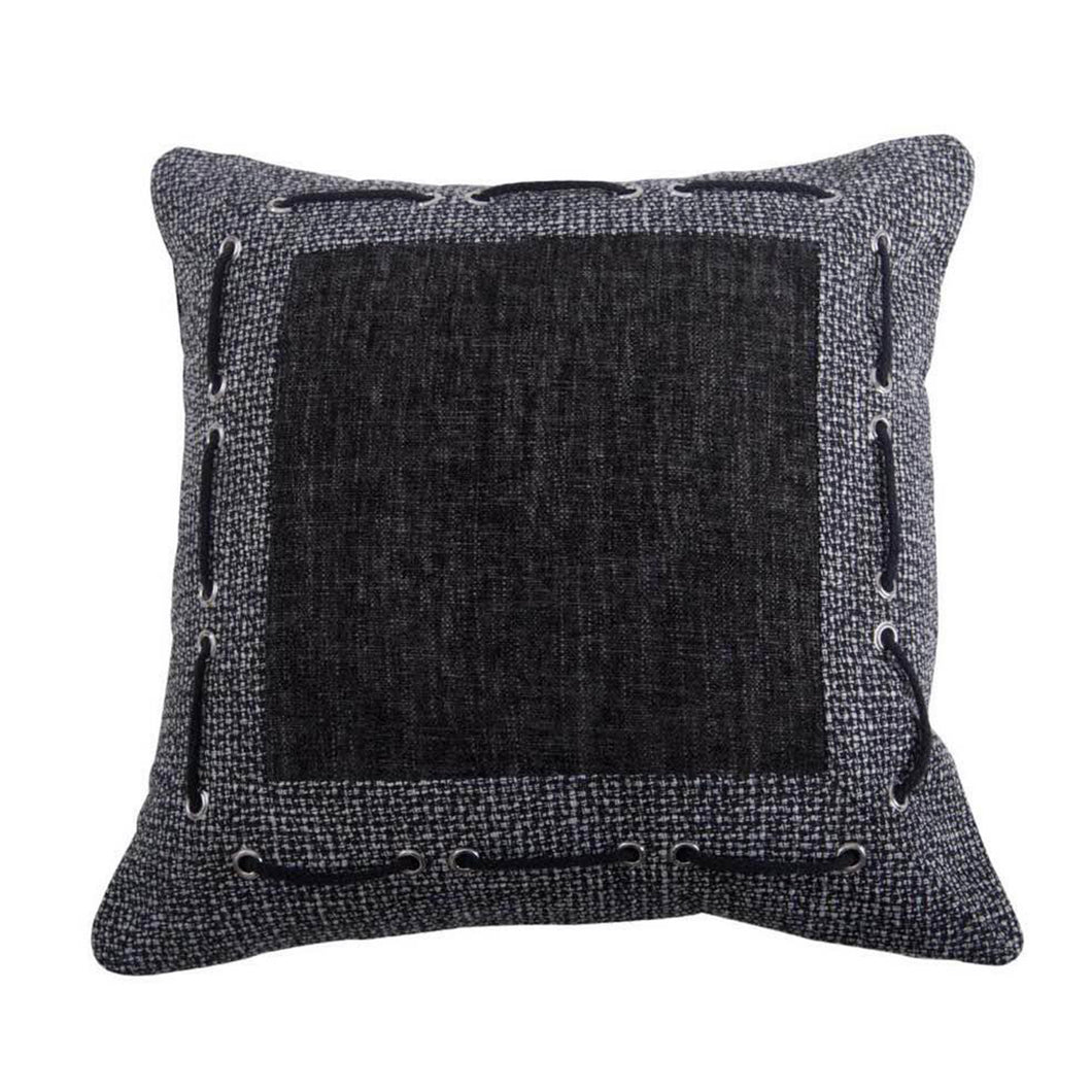 Tweed and Chenille Pillow with Faming & Laced Rope Detail , 18x18
