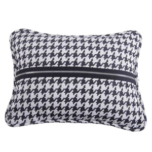 Houndstooth Deco Pillow with piping and zipper detail, 17x13