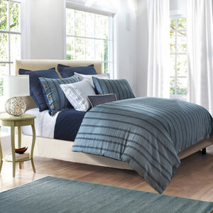 3 Pc Harper Stripe Duvet Set, Super King Blue