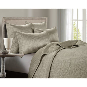 3 PC Satin Quilt Set, King Taupe