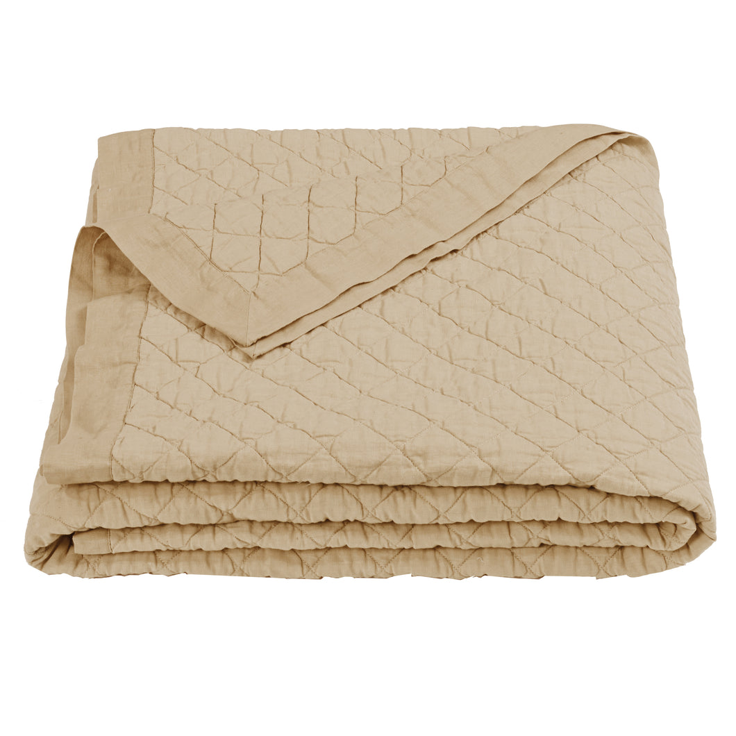 Diamond Pattern Linen Quilt, Queen, Khaki