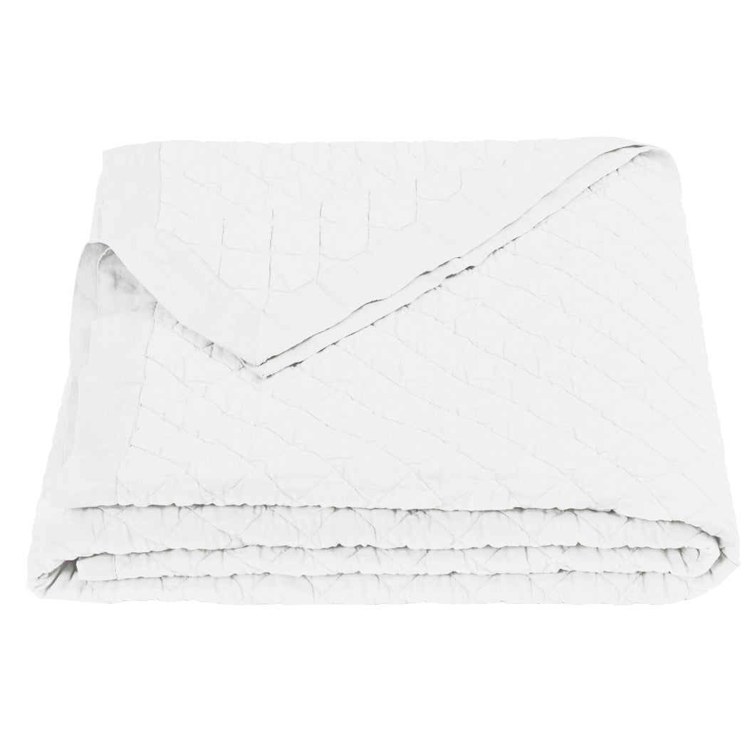Diamond Pattern Linen Quilt, Twin, Vintage White