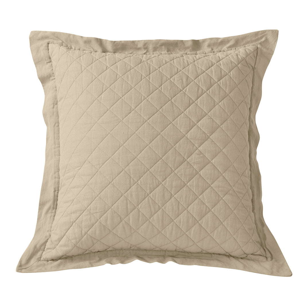 Linen Quilt Euro Sham, 27x27 Light Tan