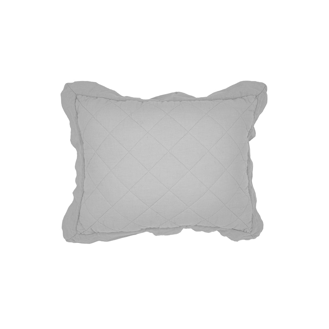 Linen Quilted Boudoir Pillow, 12x16 Gray