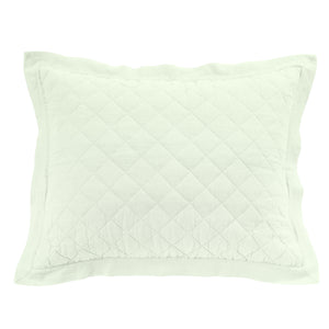Diamond Pattern Linen Quilted Sham, King Seafoam