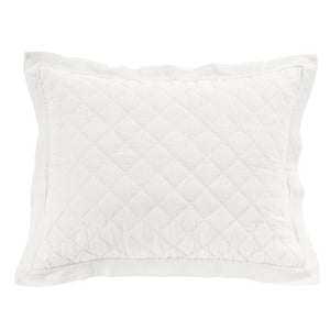 Diamond Pattern Linen Quilted Sham, King Vintage White