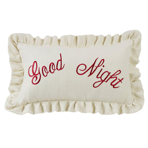 Good Night Embroidery Pillow, 12X21