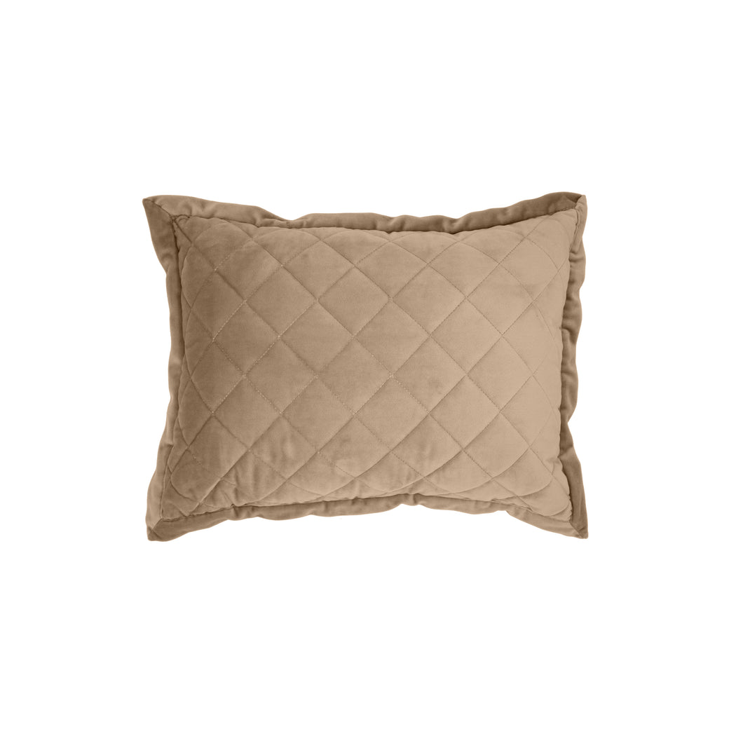 Velvet Quilted Boudoir Pillow, 12x16 Oatmeal