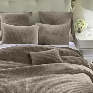 Stone Washed Cotton Velvet Quilt, Queen,Taupe