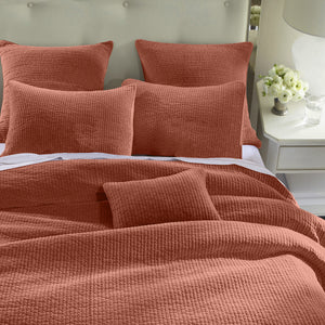 Stone Washed Cotton Velvet Quilt, King, Salmon