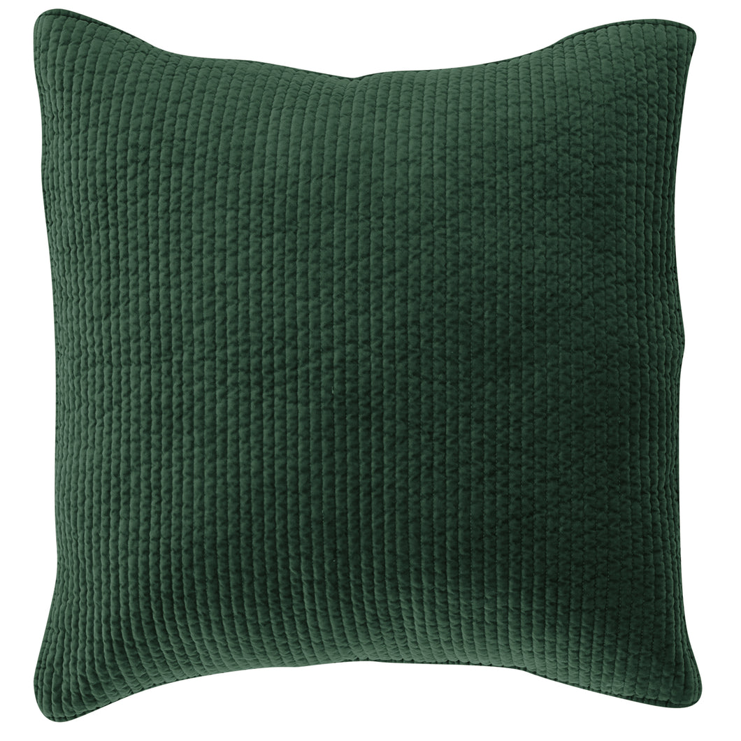 Stone Washed Cotton Quilted Velvet Euro Sham Emerald