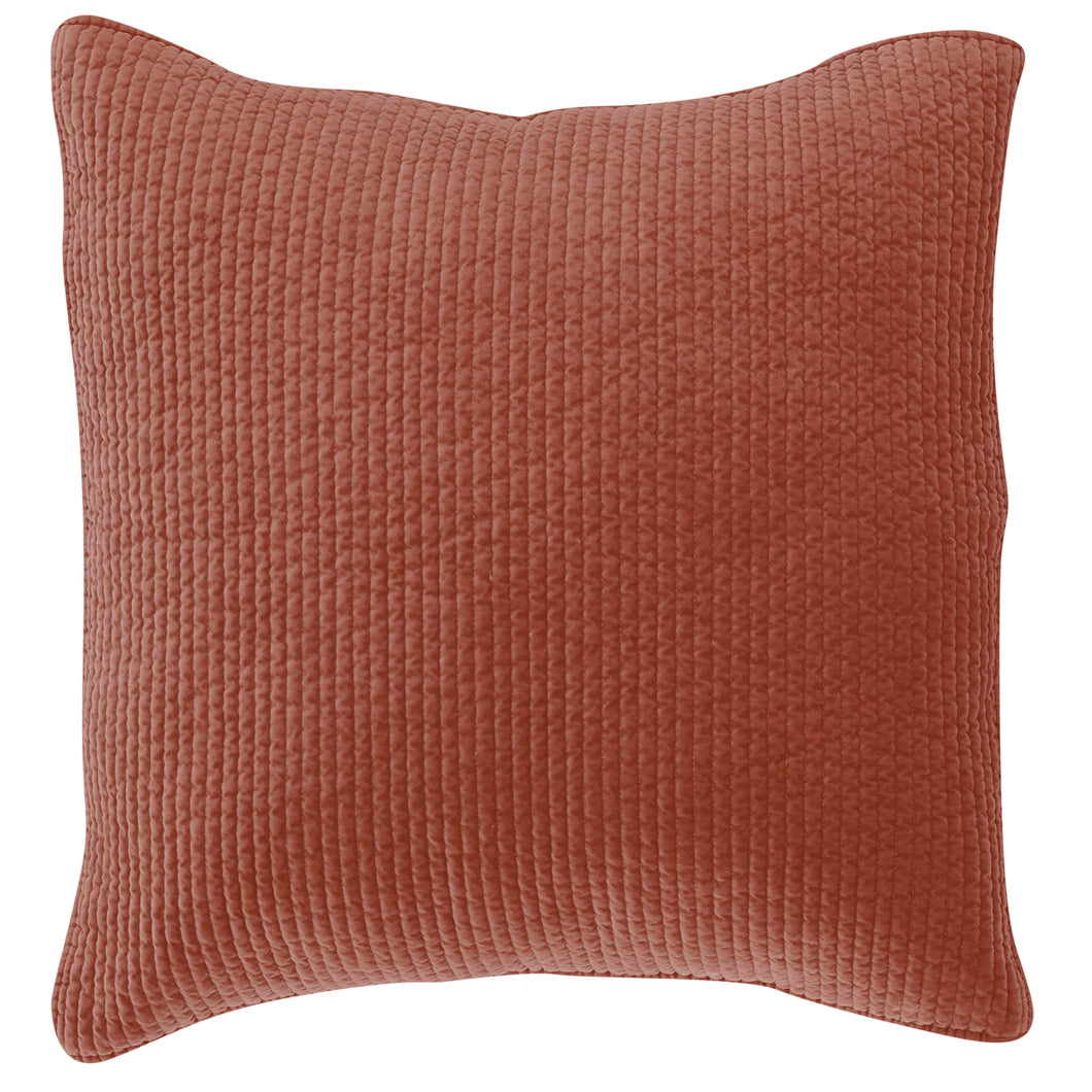Stone Washed Cotton Quilted Velvet Euro Sham Salmon