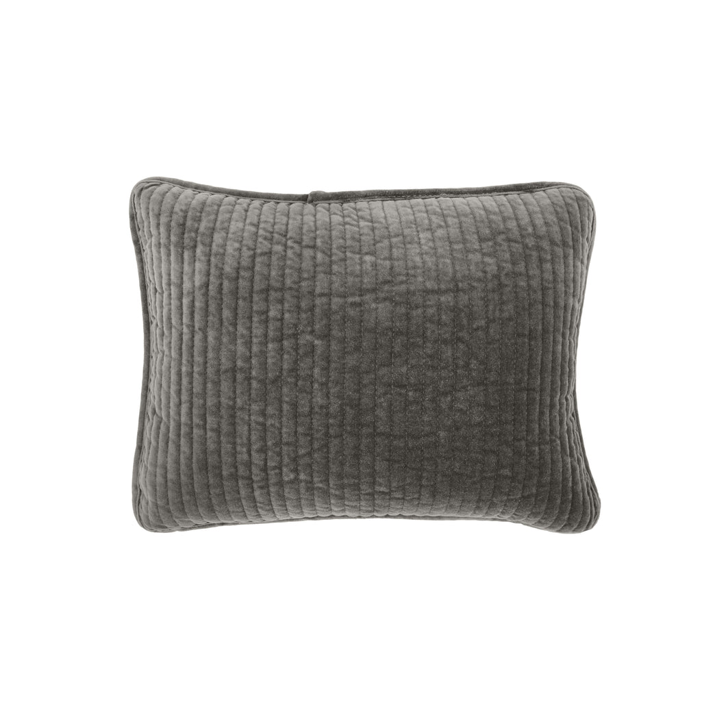 Stonewashed Cotton Velvet Boudoir Pillow, 12x16 Gray