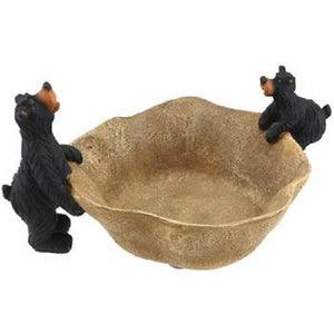 Willie Bear Decorative Log Bowl Candy Dish