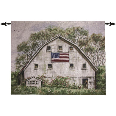 American Flag on White Barn 47