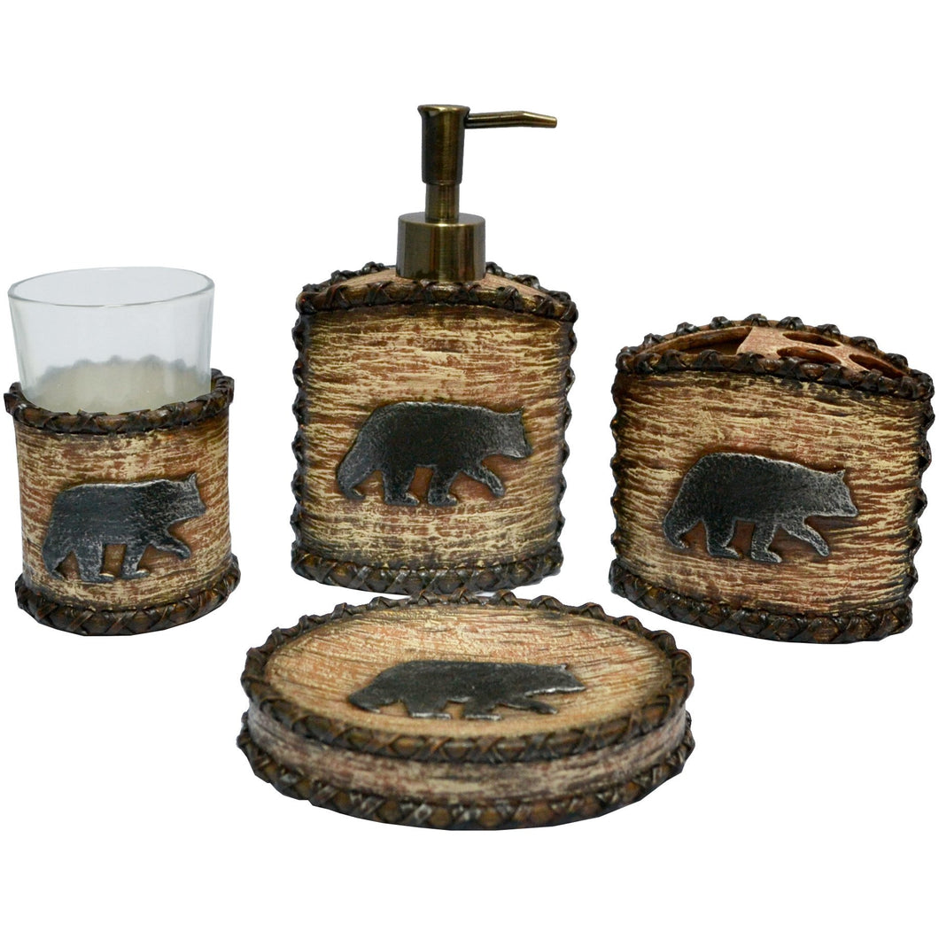4PC Rustic Bear Bath Set