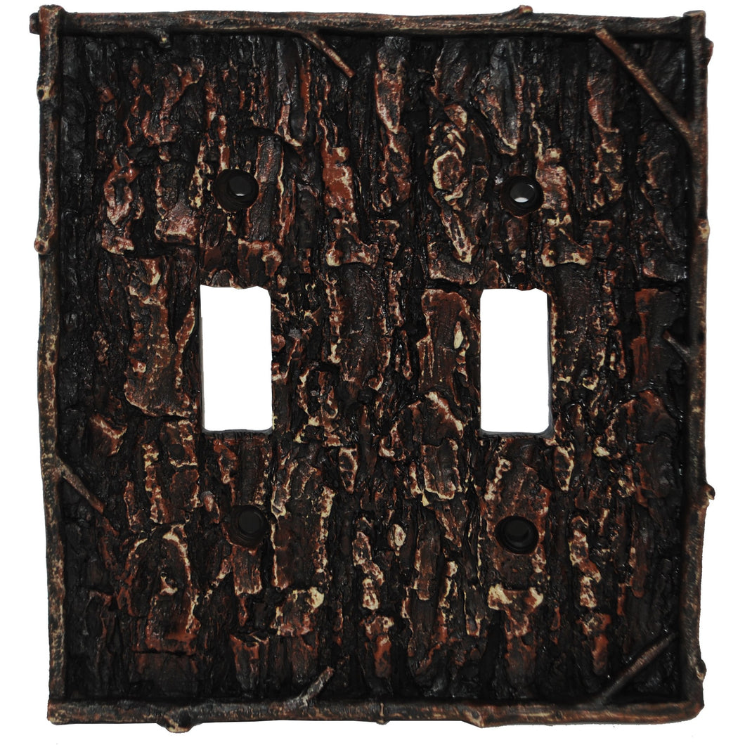 Pine Bark Double Switch Plate