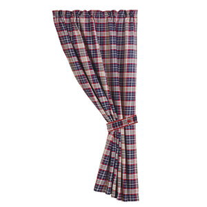 "Blue plaid curtain with tieback, 48""x84"""