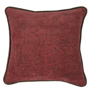 "Red Chenille Pillow, 18""X18"""